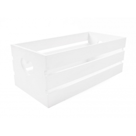 Tin Tours White wooden box with cut hearts 32x16x12 cm