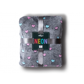 Neon blanket heart gray / 200x220